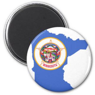 Flaggen-Karte von Minnesota Runder Magnet 5,1 Cm