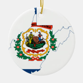 Flaggen-Karte von West Virginia Keramik Ornament
