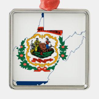 Flaggen-Karte von West Virginia Silbernes Ornament