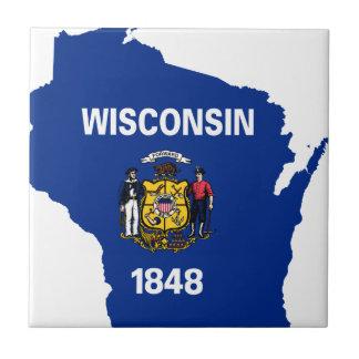 Flaggen-Karte von Wisconsin Keramikfliese