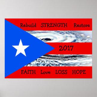 Flaggen-Plakat 2017 Hurrikan-Maria Puerto Rico Poster