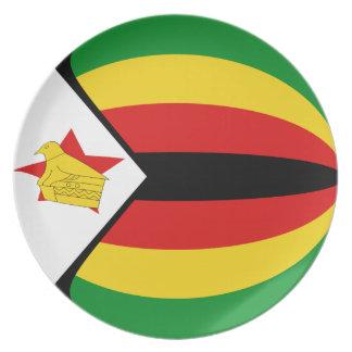 Flaggen-Platte Simbabwes Fisheye Melaminteller