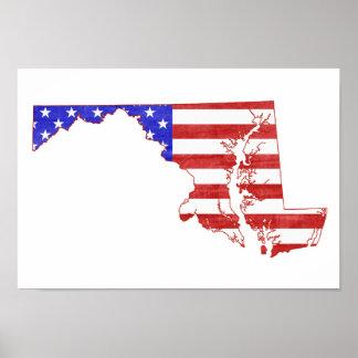 Flaggen-Silhouette-Staatskarte Marylands USA Poster