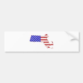 Flaggen-Silhouette-Staatskarte Massachusetts USA Autoaufkleber
