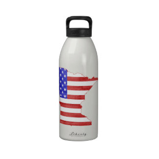 Flaggen-Silhouette-Staatskarte Minnesotas USA Trinkflasche