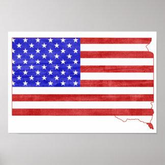 Flaggen-Silhouette-Staatskarte South Dakota USA Poster