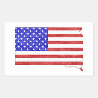 Flaggen-Silhouette-Staatskarte South Dakota USA Rechteckiger Aufkleber