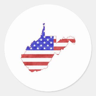 Flaggen-Silhouette-Staatskarte West Virginia USA Runder Aufkleber