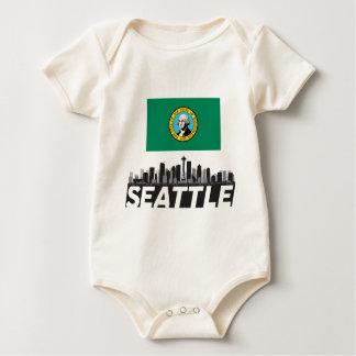 Flaggen-Skyline Seattles Washington Baby Strampler