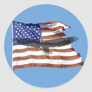 Flaggen- und Eagle-Aufkleber Runder Aufkleber
