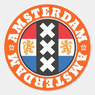 Flaggen-und Stadt-Kreuz-Symbol Amsterdams Runder Aufkleber