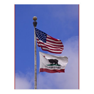 Flaggen: USA und Staat von Kalifornien Postkarten