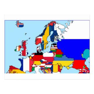 FLAGGEN VON EUROPA-KARTE POSTKARTE