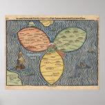 Flaggenklee-Blatkarte 1581 Posterdruck