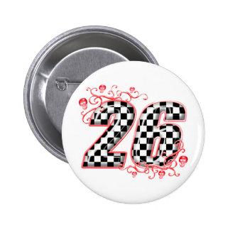 Flaggenzahl mit 26 Schachbrettern Runder Button 5,7 Cm