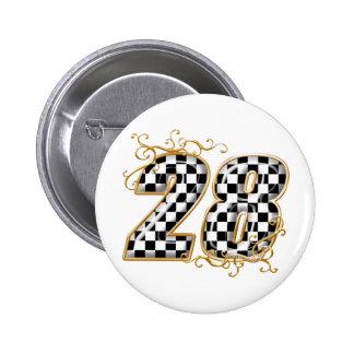 Flaggenzahl mit 28 Schachbrettern Anstecknadelbutton