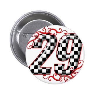 Flaggenzahl mit 29 Schachbrettern Runder Button 5,7 Cm
