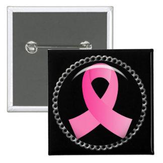 Flair-Rosa Brustkrebs Schleife Quadratischer Button 5,1 Cm