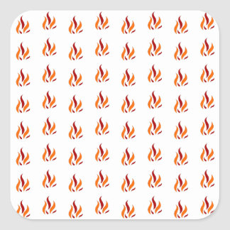 Flame Pattern Red Orange Quadratischer Aufkleber