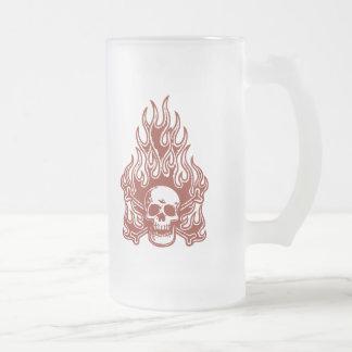 Flameskull - Rot Mattglas Bierglas