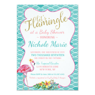 Flamingle Baby-Duschen-Einladungs-aquamarines rosa Karte