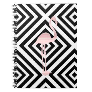 Flamingo - abstraktes geometrisches Muster - Rosa Spiral Notizblock