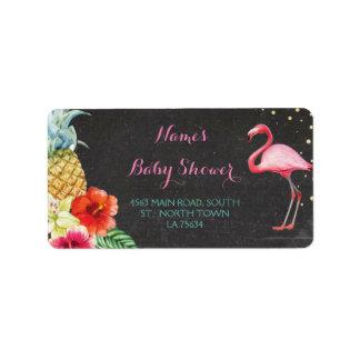 Flamingo-Aloha Babyparty-Adressen-Etiketten Adressaufkleber