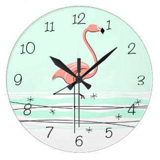 Flamingo-Aqua nummeriert die runde Uhr