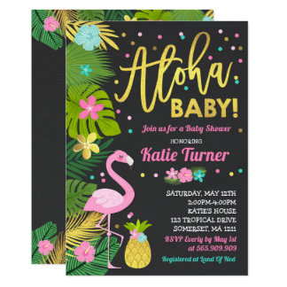Flamingo-Babyparty-Einladungs-tropische Dusche Karte