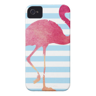 Flamingo, blue, and whit stripes iPhone 4 Case-Mate hülle