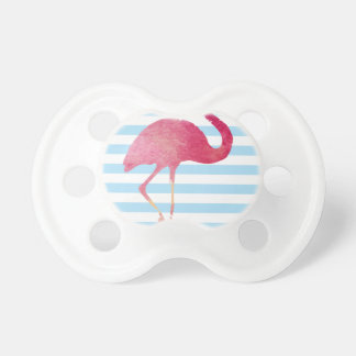 Flamingo, blue, and whit stripes schnuller