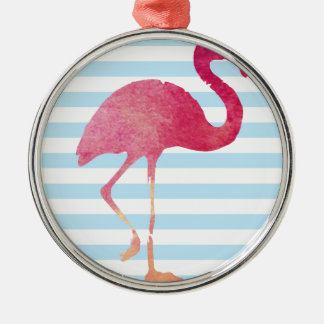 Flamingo, blue, and whit stripes silbernes ornament