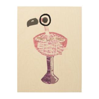 Flamingo-Cocktail-hölzerne Leinwand Holzdruck