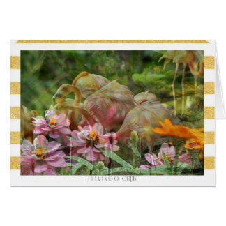 Flamingo-Gartenfreier raum notecard u. Umschlag LK Karte