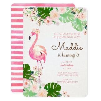 Flamingo-Geburtstags-Einladung Karte