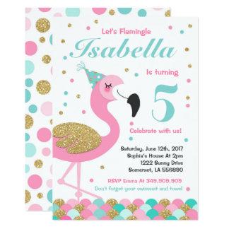 Flamingo-Geburtstags-Einladungs-aktuelles 12,7 X 17,8 Cm Einladungskarte