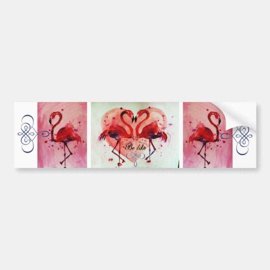 Flamingo/Heart (Be like) - Autoaufkleber