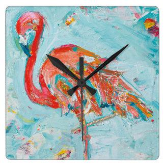 Flamingo hell quadratische wanduhr