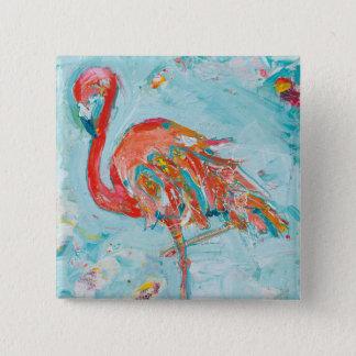 Flamingo hell quadratischer button 5,1 cm
