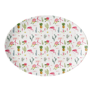 Flamingo-Kaktus-Ananas-Hibiskus-Muster Porzellan Servierplatte