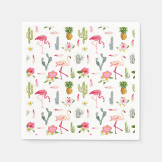Flamingo-Kaktus-Ananas-Hibiskus-Muster Serviette
