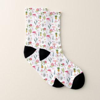 Flamingo-Kaktus-Ananas-Hibiskus-Muster Socken