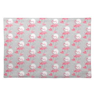 Flamingo-Liebe deckte Tischsetstoff mit Ziegeln Stofftischset