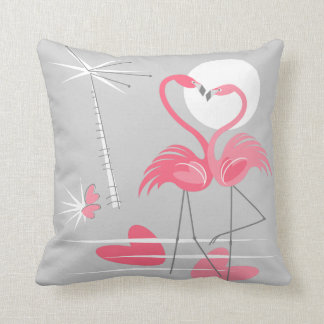 Flamingo-Liebe multi hinteres Throwkissenquadrat Kissen