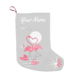 Flamingo-Liebe-Namen-Strumpf doppelseitig Kleiner Weihnachtsstrumpf