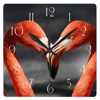 Flamingo-Liebe Quadratische Wanduhr