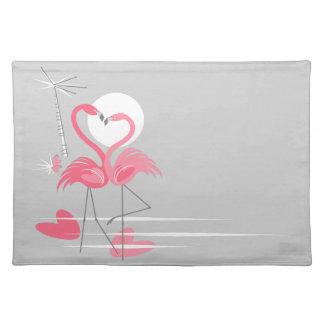 Flamingo-Liebe-Seiten-Tischsetstoff Tischset