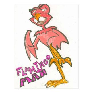 Flamingo-Mann-Postkarte Postkarte