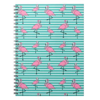 Flamingo-Muster-Notizbuch (80 Seiten B&W) Notizblock