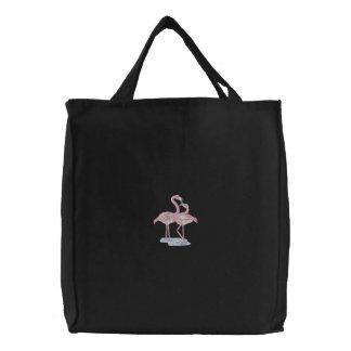 Flamingo-Paare Bestickte Tragetaschen